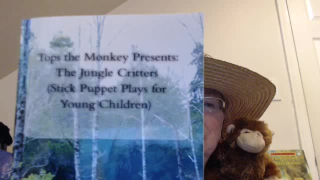 Tops the Monkey Presents….Hi!  A play from the book, The Jungle Critters, using stick puppets.