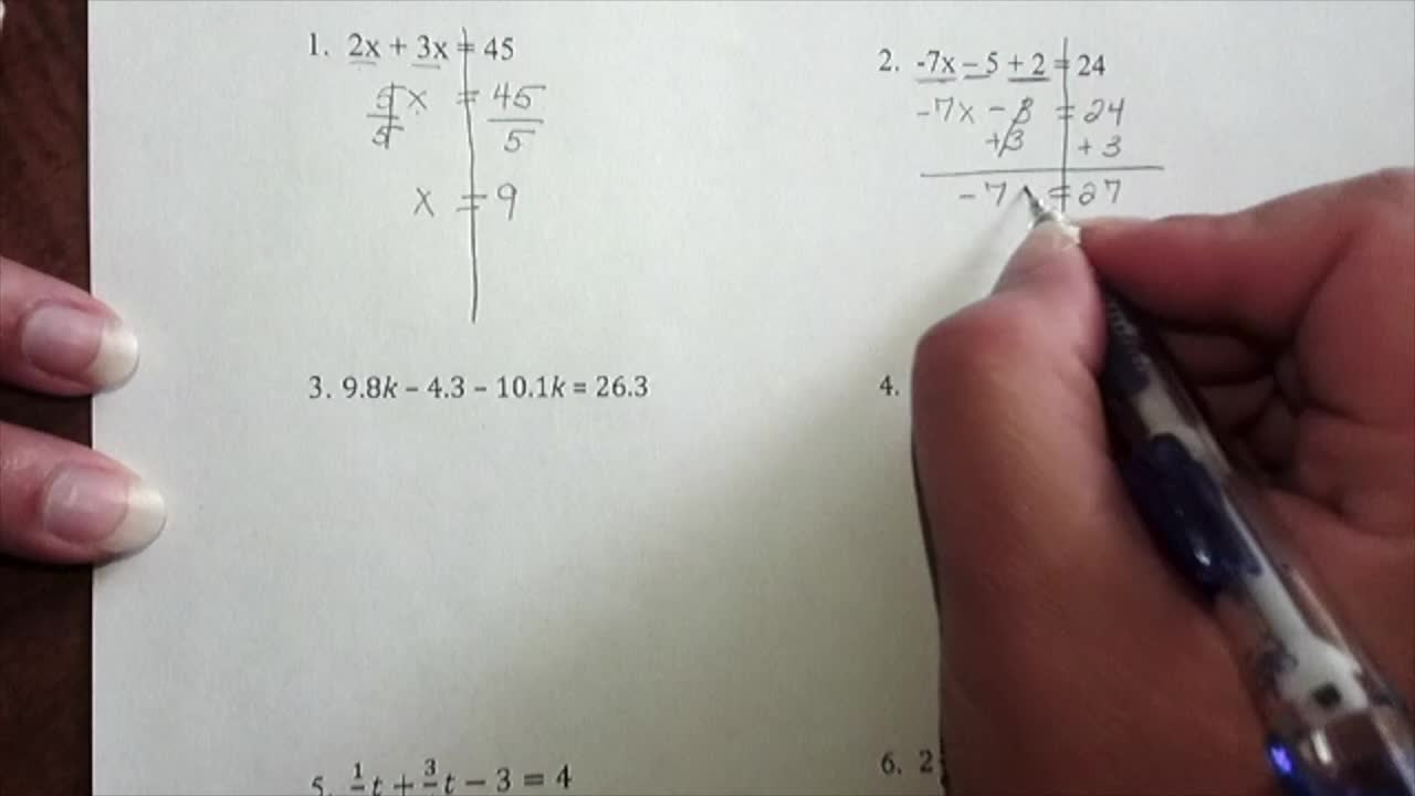 Solving Equations With Combining Like Terms