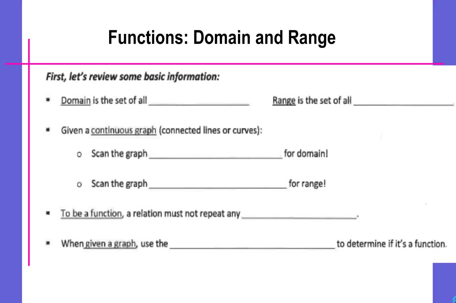 Domain Range Function Notation Notes