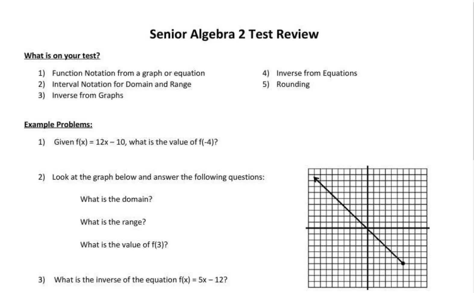 Senior Algebra 2 Review Video