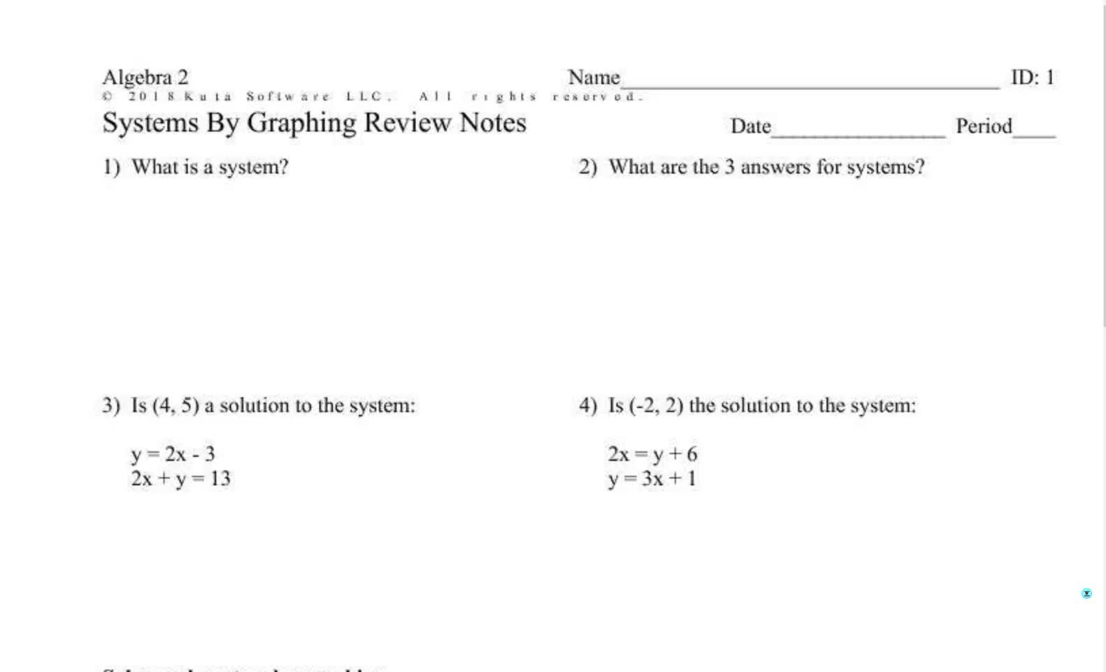 Algebra 1 Review of Systems by Graphing