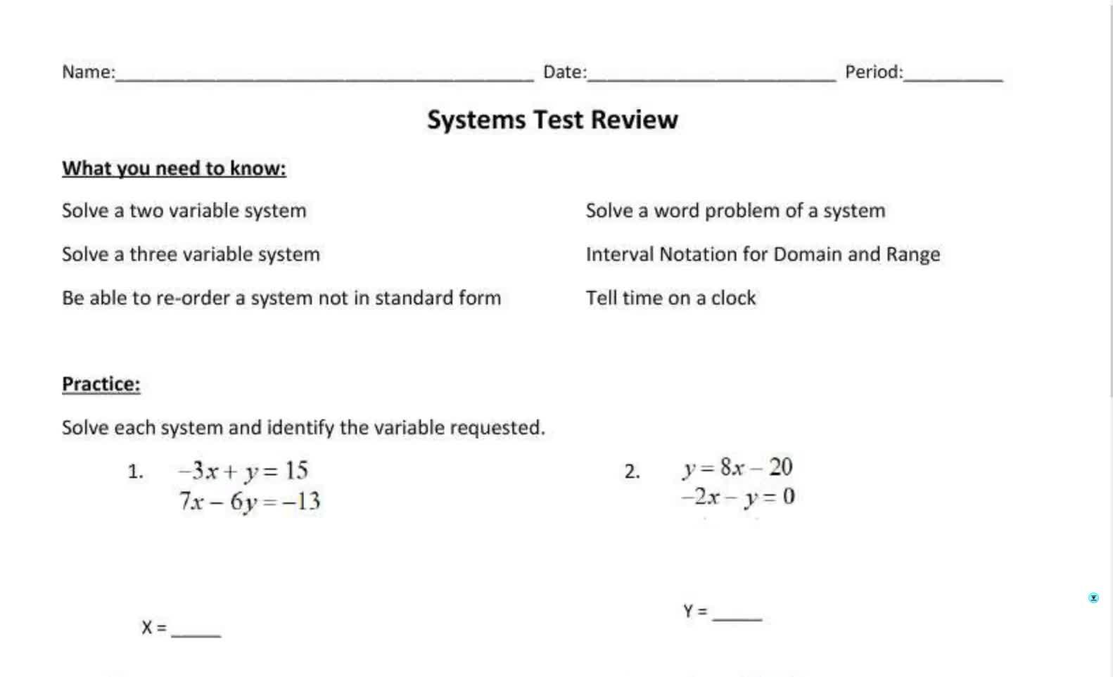 Senior Alg 2 Systems Test Review