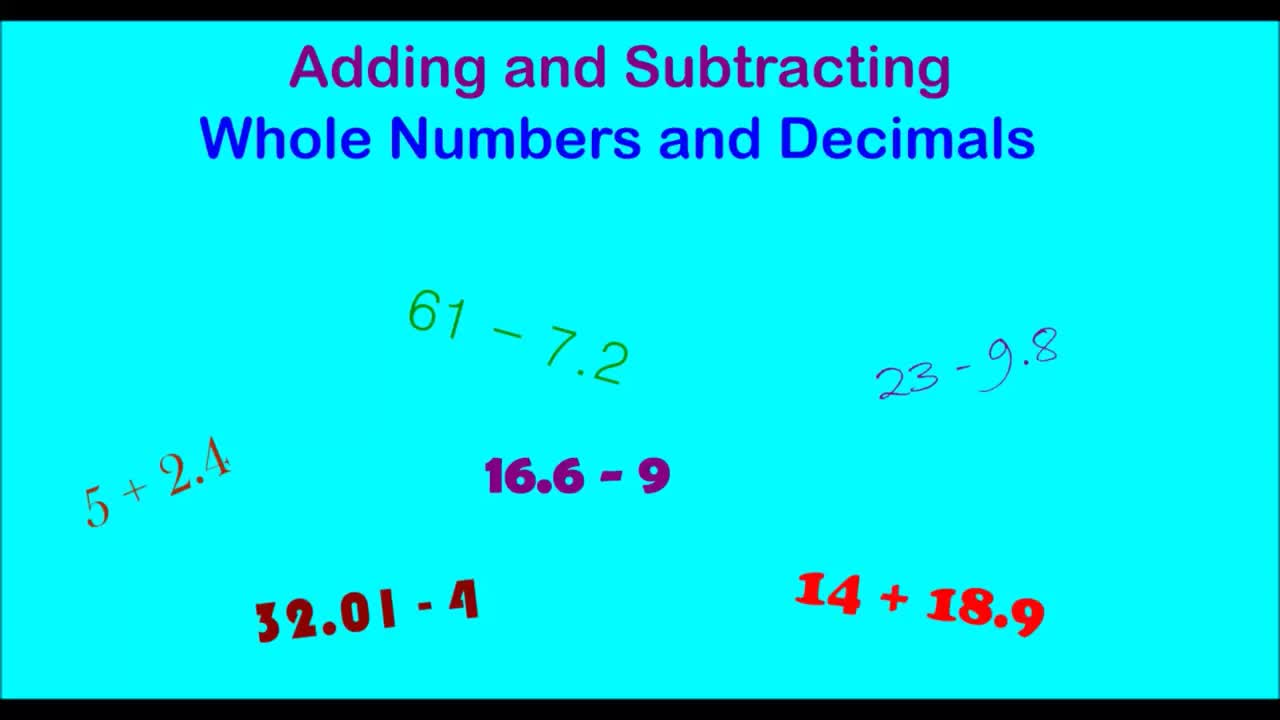 Adding and Subtracting Decimals and Whole Numbers