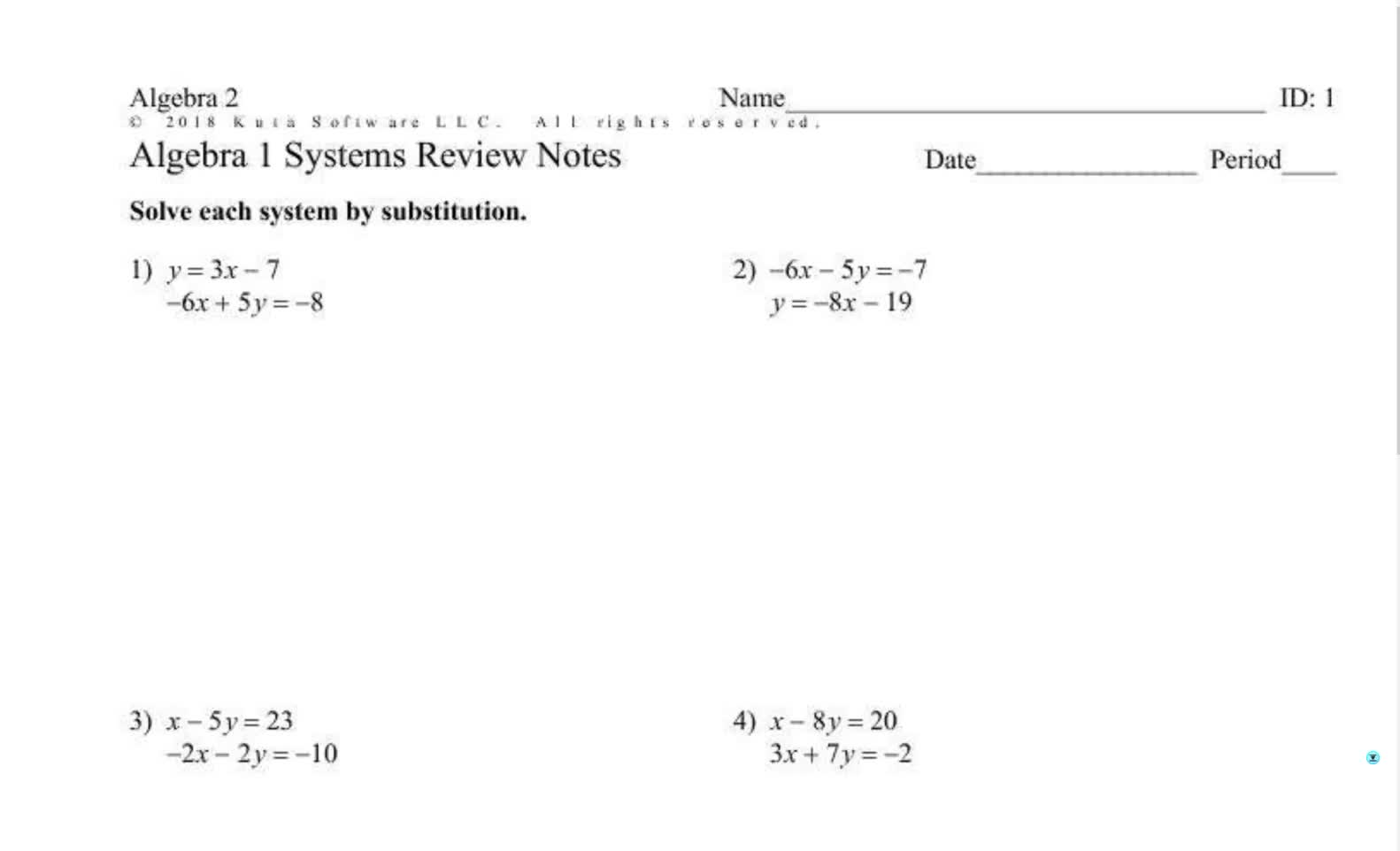 Alg 2 Substitution Review