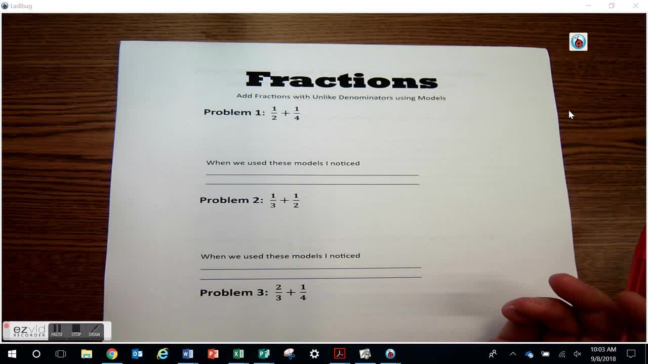 Add Fractions with Unlike Denominators using Models Day 32