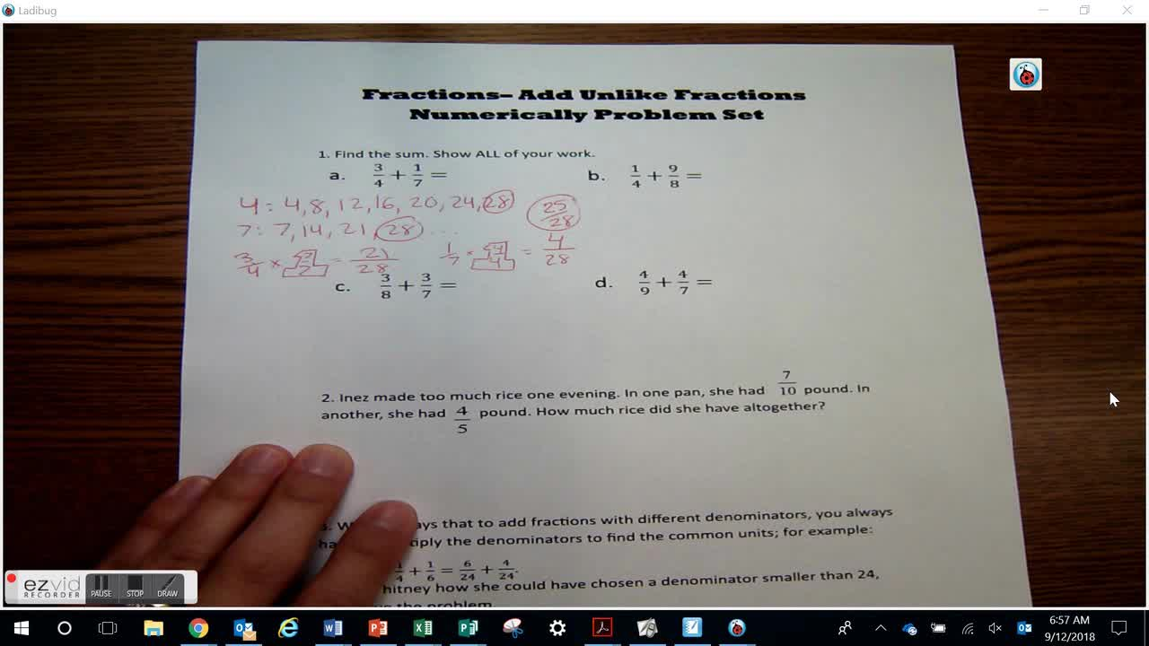 Add Fractions with Unlike Denominators Numerically: Problem Set Day 33