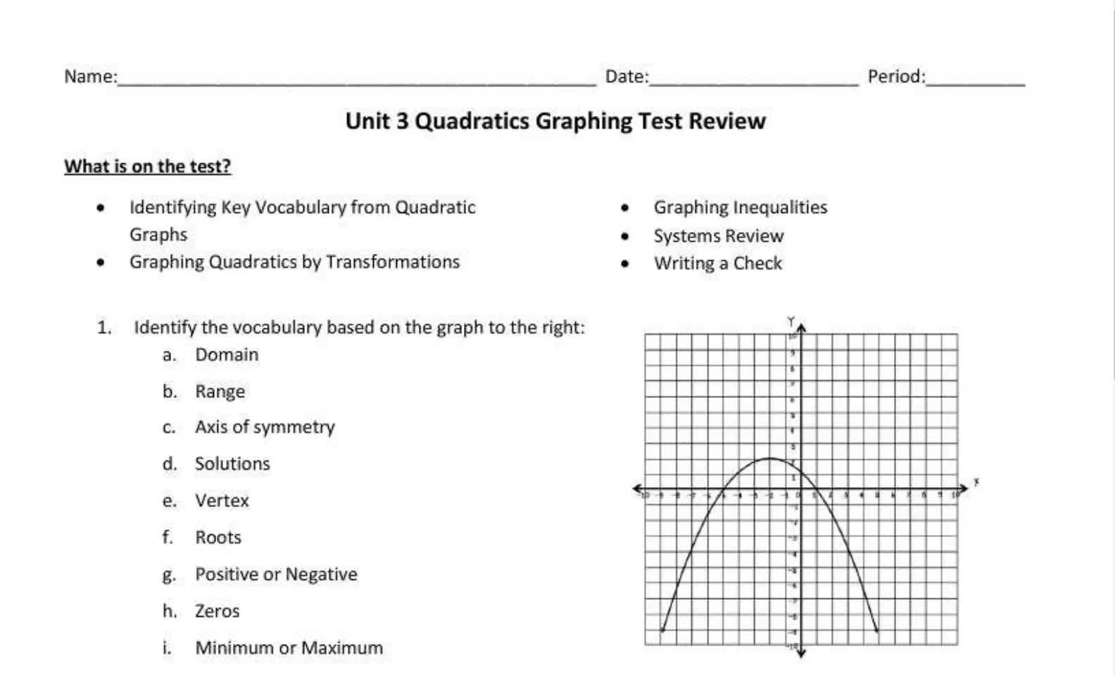 Senior Quadratics Graphing Test Review