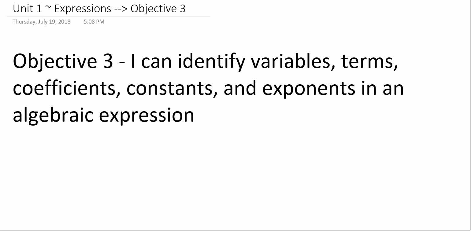 Algebra 1A ~ Unit 1 ~ Objective 3 (Define Parts of Expressions)
