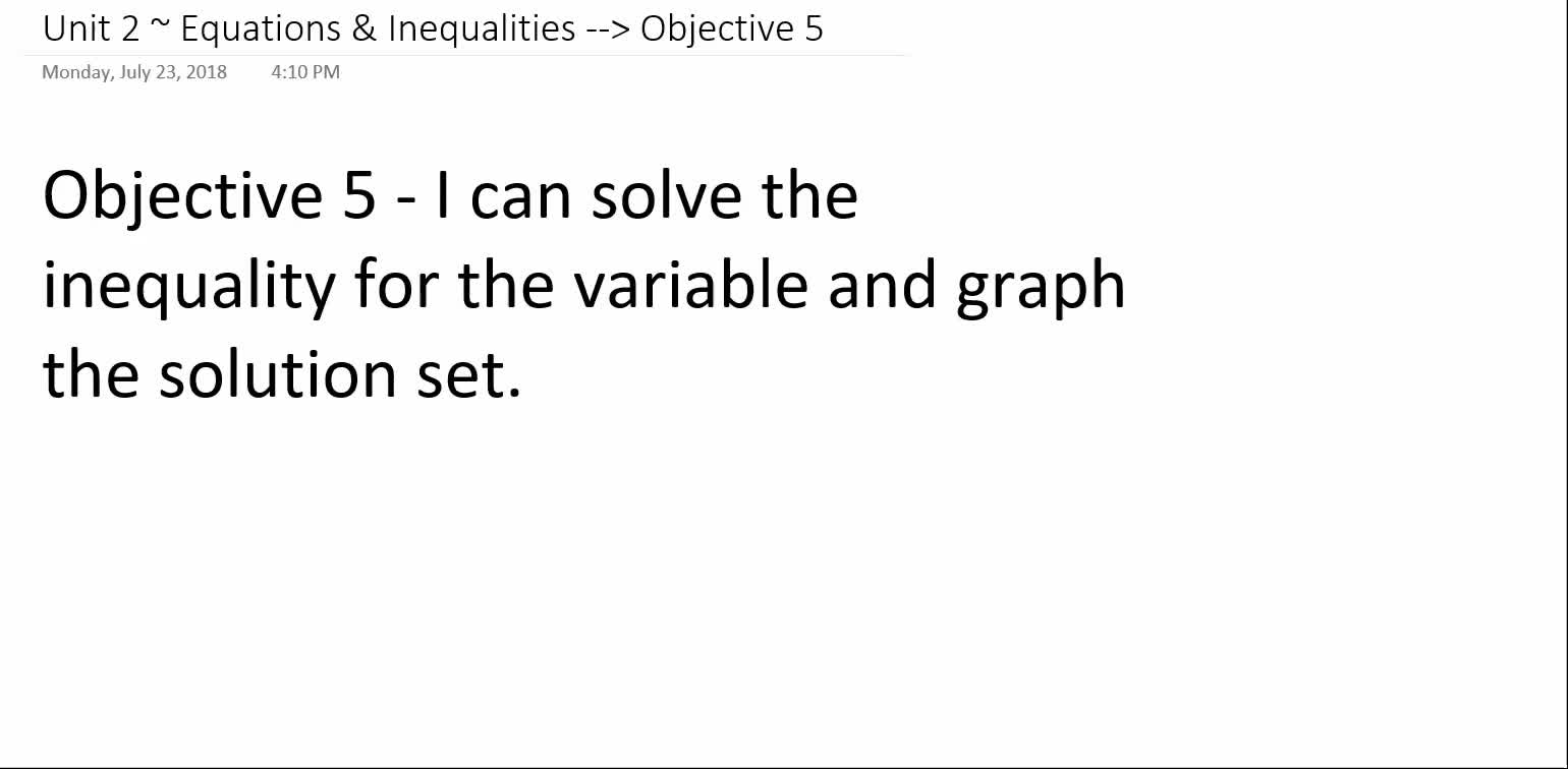 Algebra 1A ~ Unit 2 ~ Objective 5 (Solving & Graphing Inequalities)