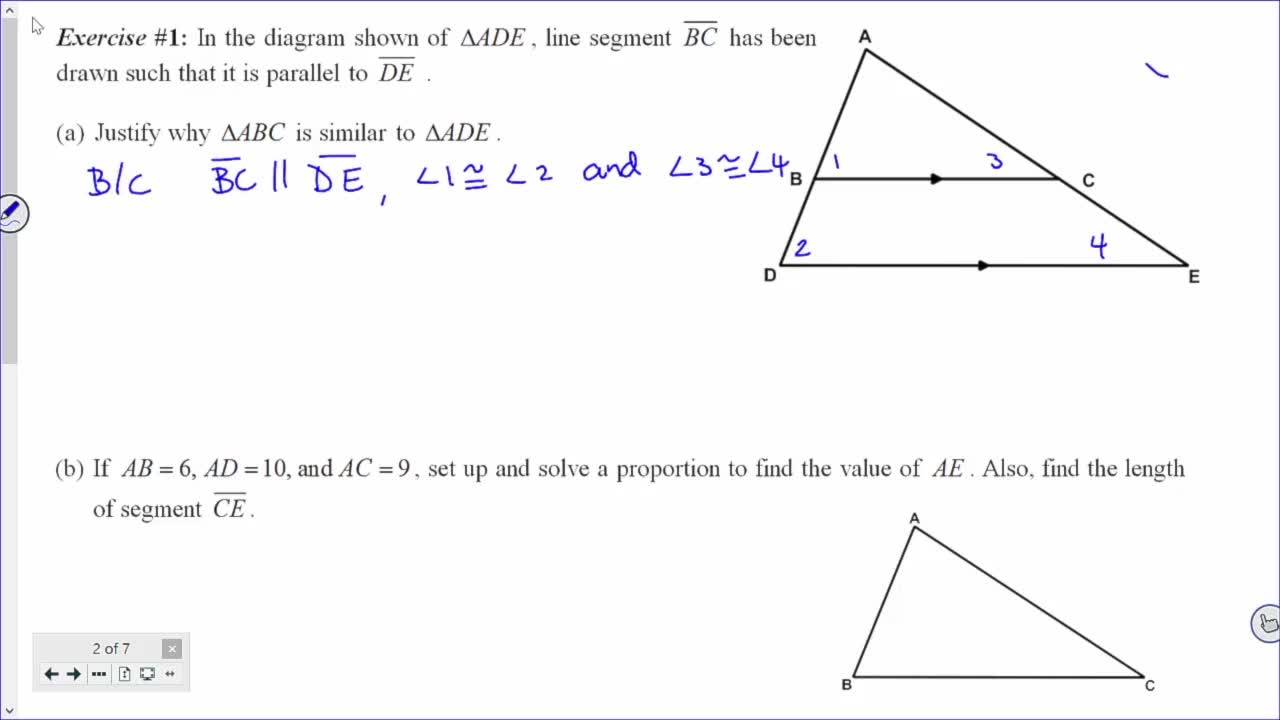 Common Core Geometry Unit 7 Lesson 8 The Side Splitter Theorem