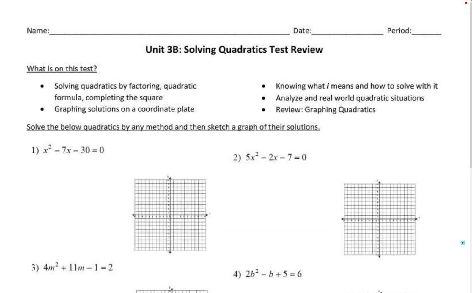 Senior Alg 2 Unit 3B Test Review