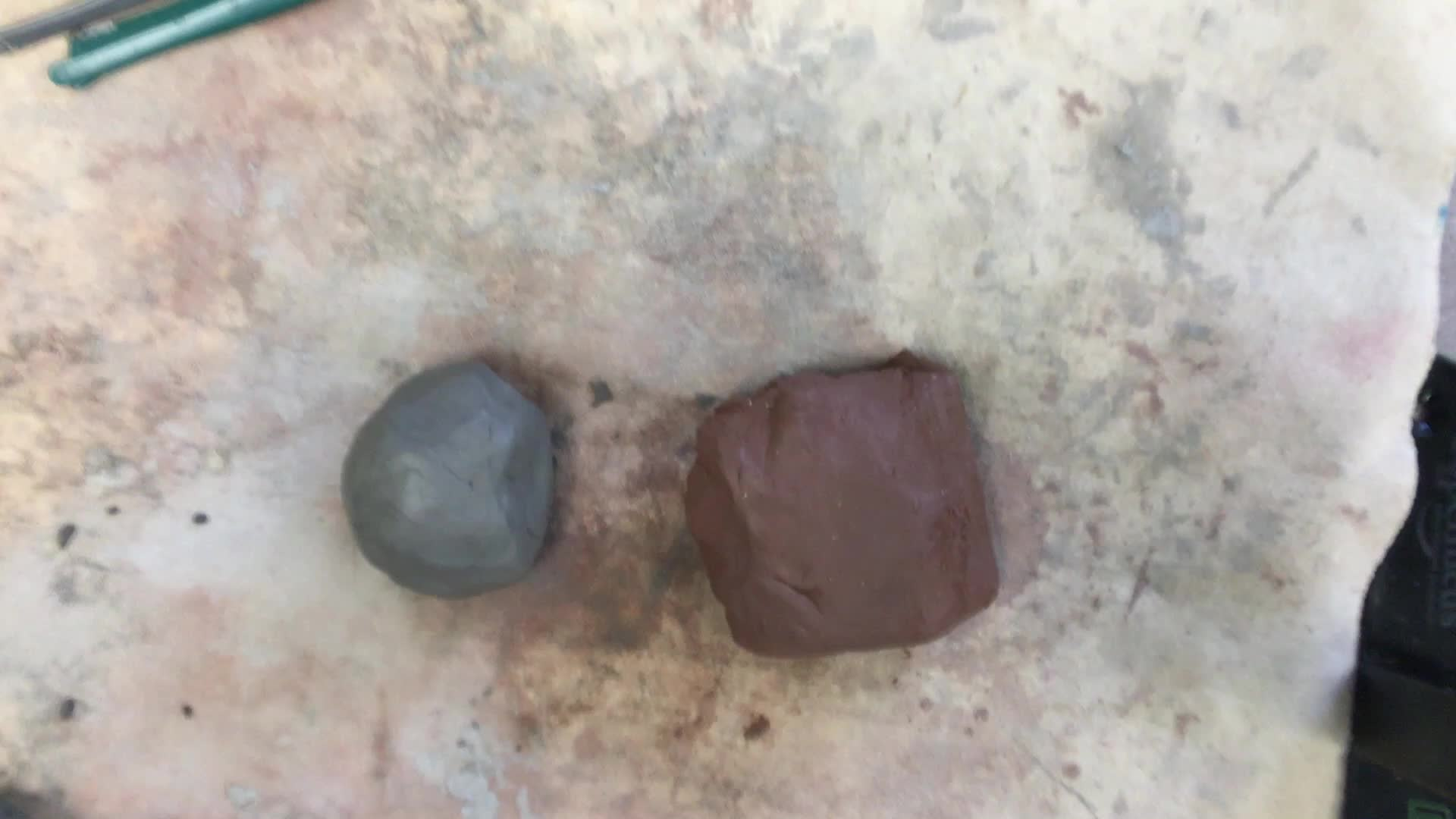 Mixing Red and Gray Clay