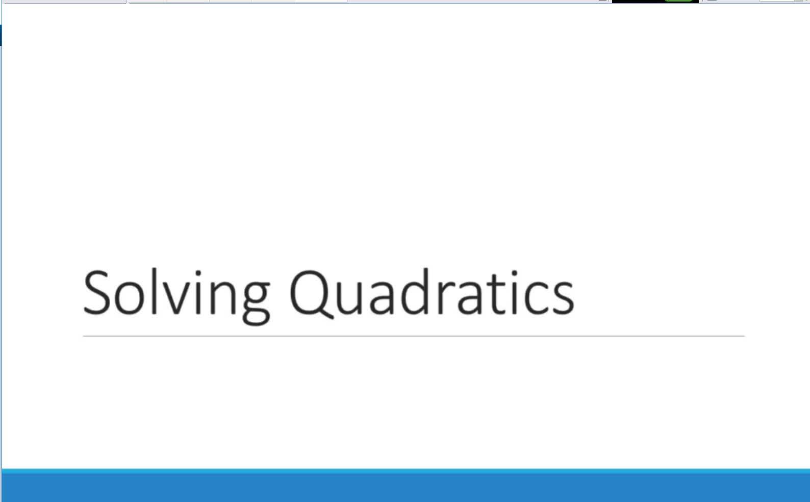 Solving Quadratics with no linear term