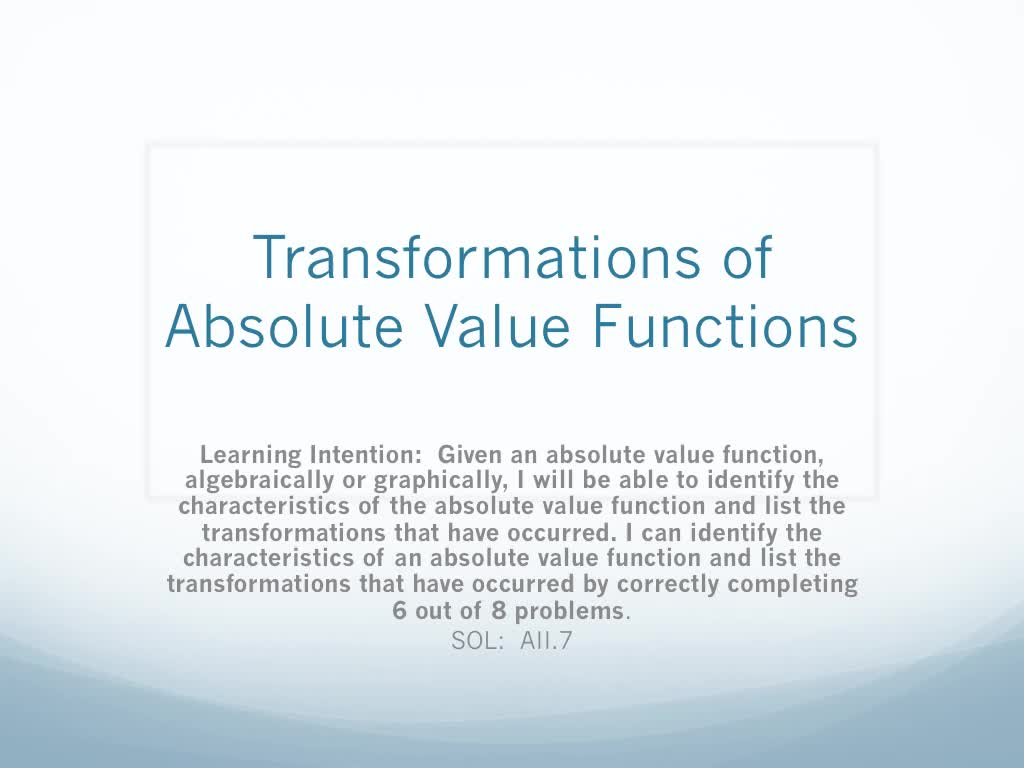 Transformations of Absolute Value Functions