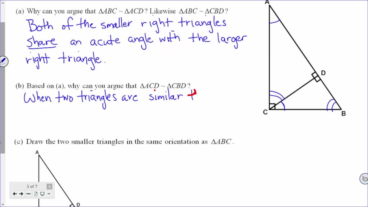 Common Core Geometry Unit 7 Lesson 11 Right Triangles and Similarity