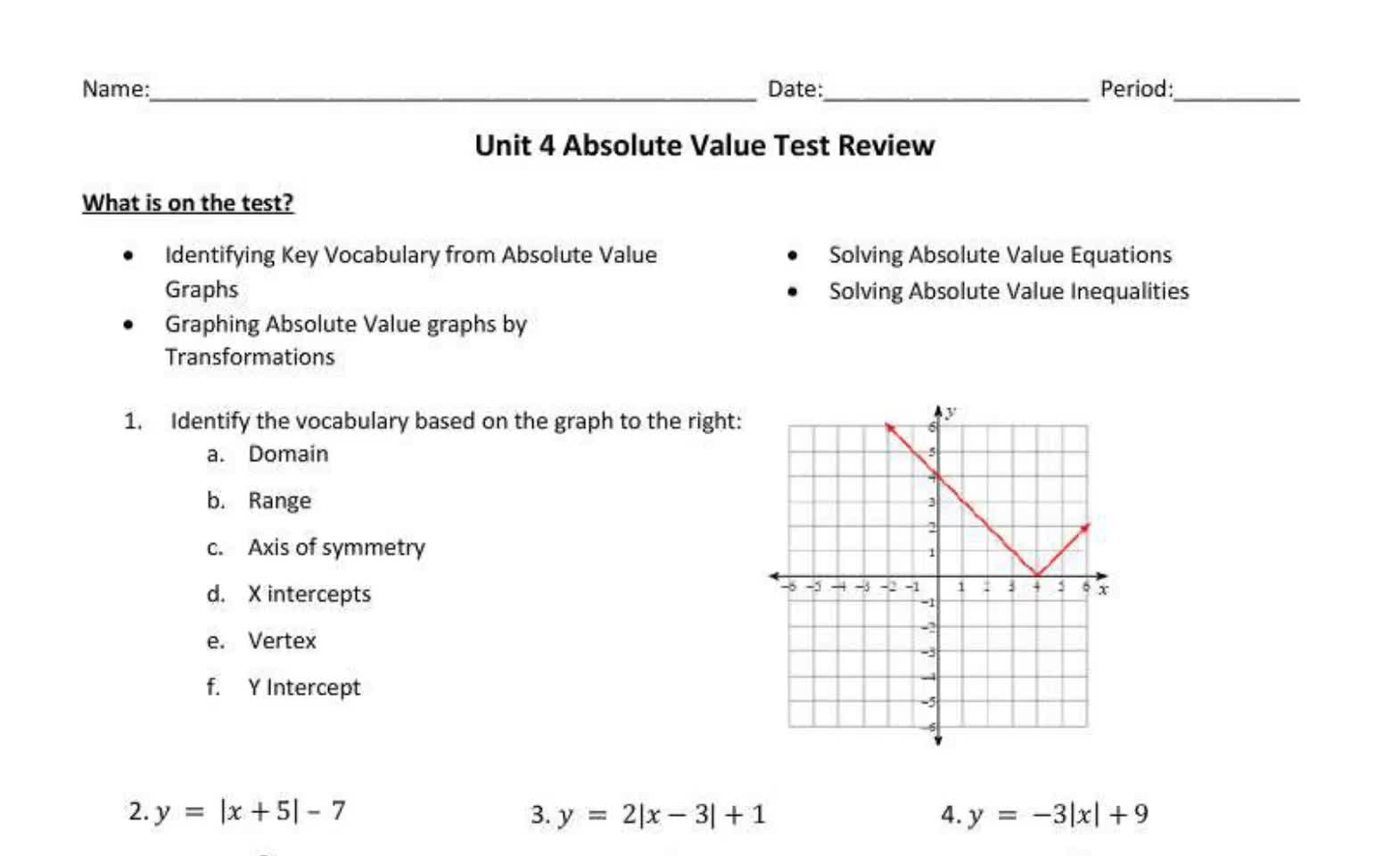 Senior Unit 4 Absolute Value Test Review