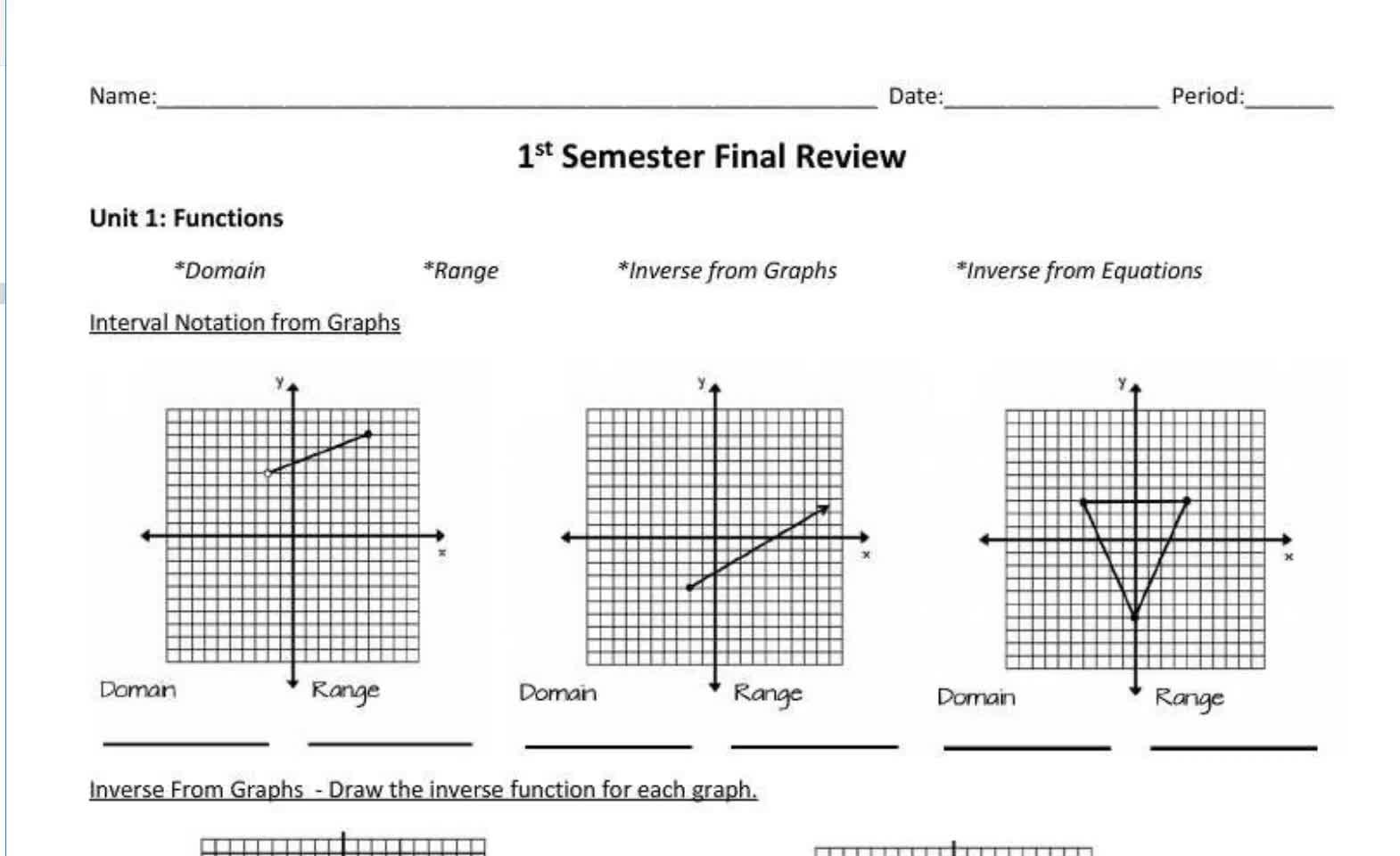 Seniors Fall Semester Final Review