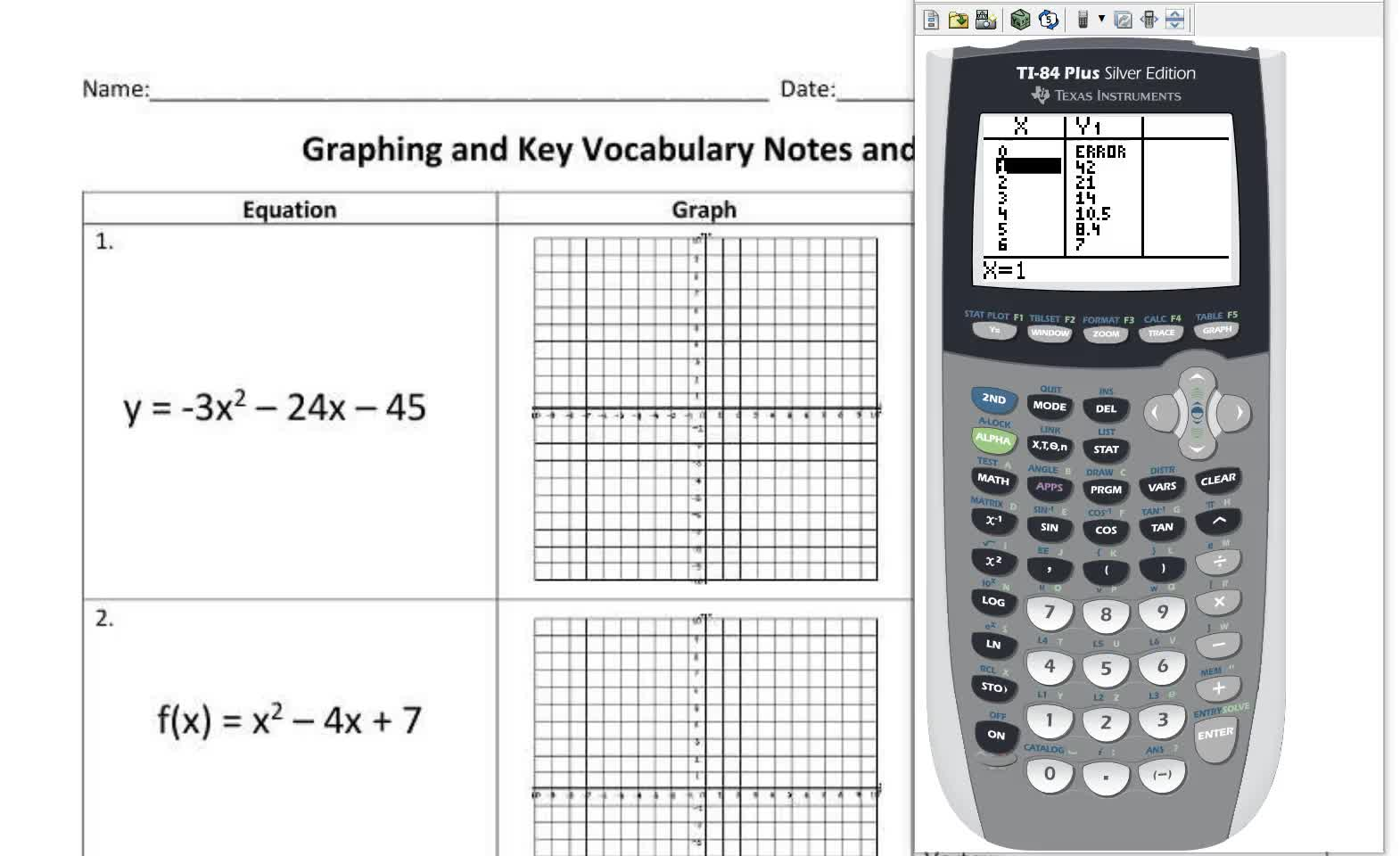 Graphing Quadratics in Calculator and Key Vocabulary