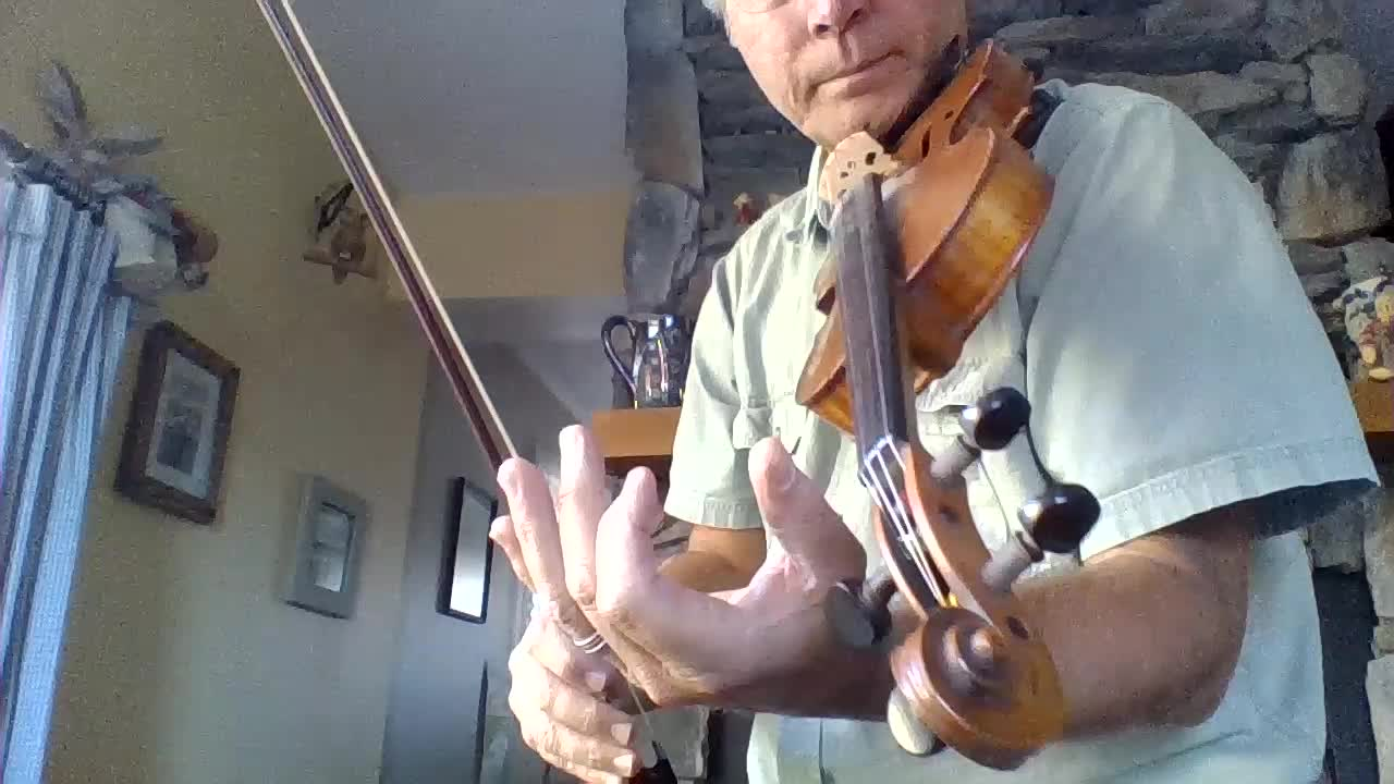 holding the neck of the fiddle