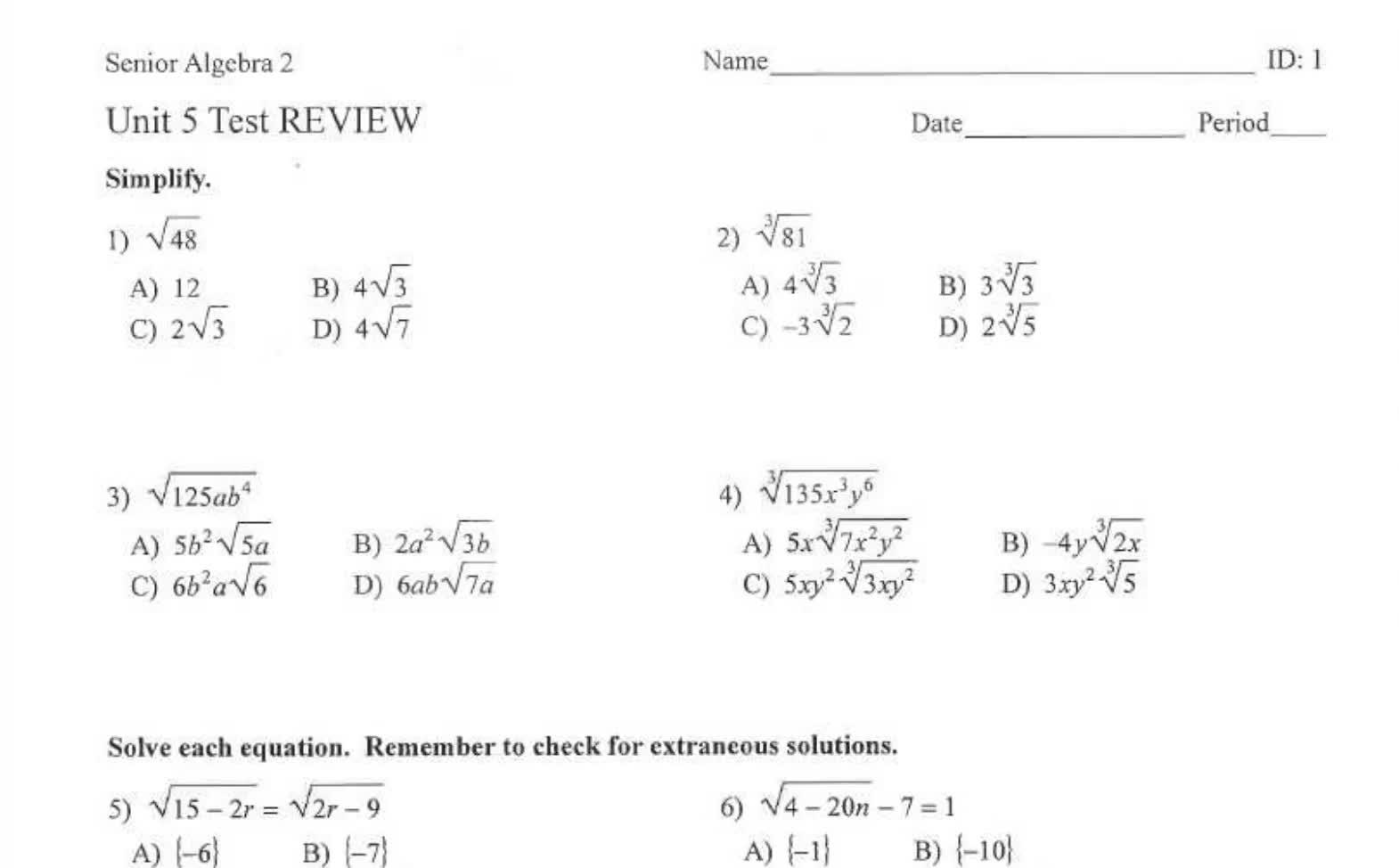 Sr Algebra 2 Unit 5 Test Review