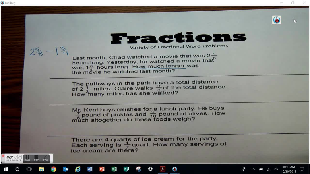 Variety of Fractional Word Problems Day 41