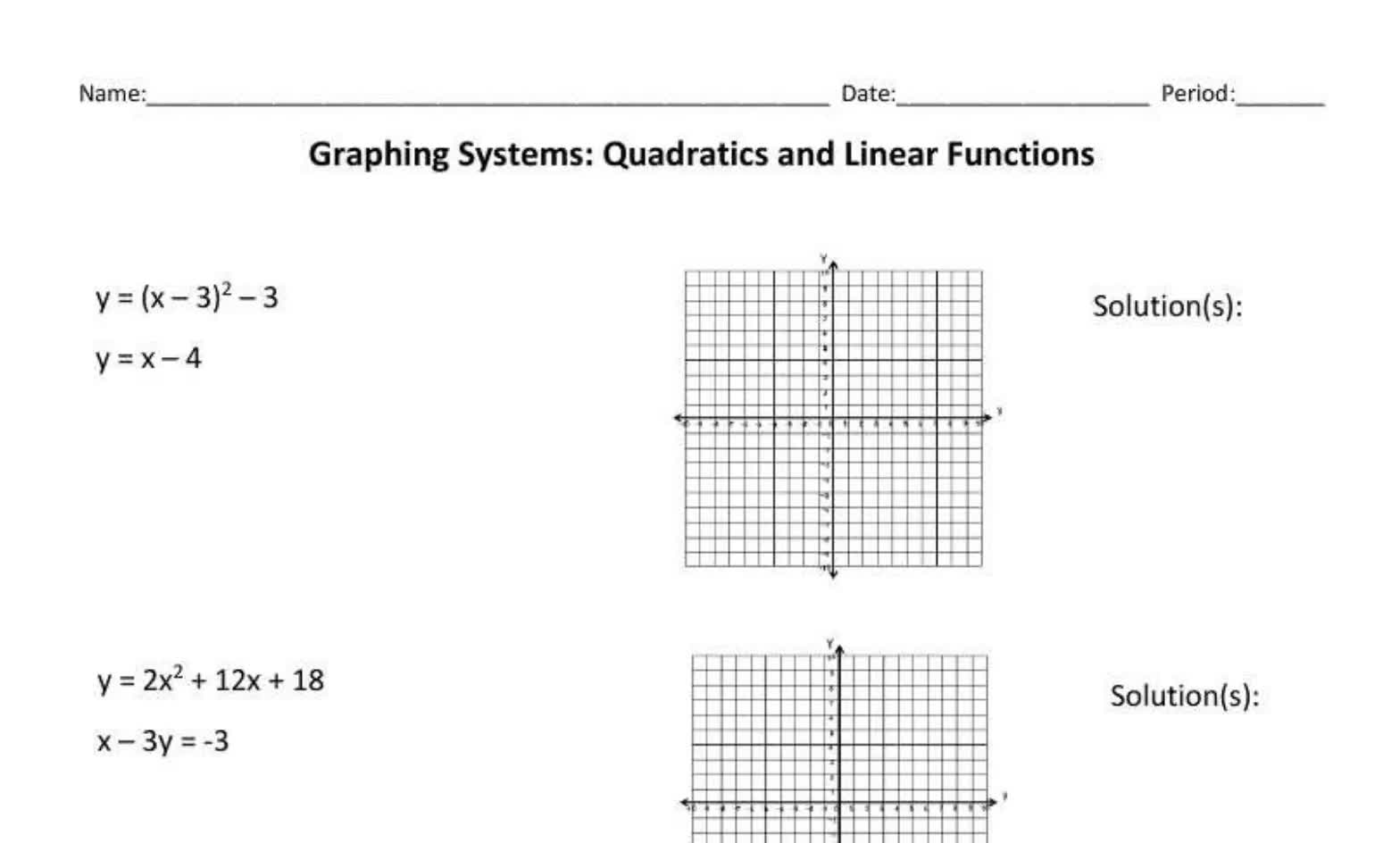 Systems with a Quadratic and Linear Function
