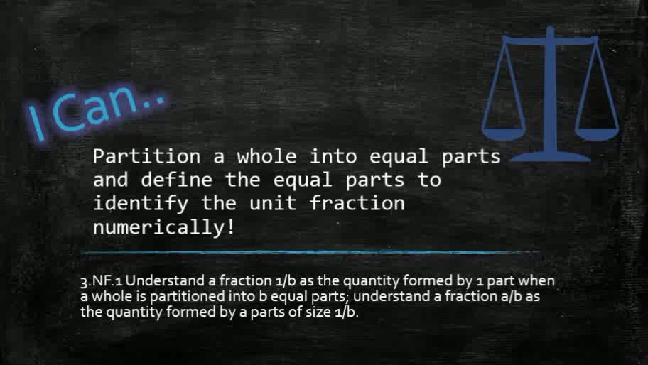Fractions - Partitioning of a Whole Into Equal Parts