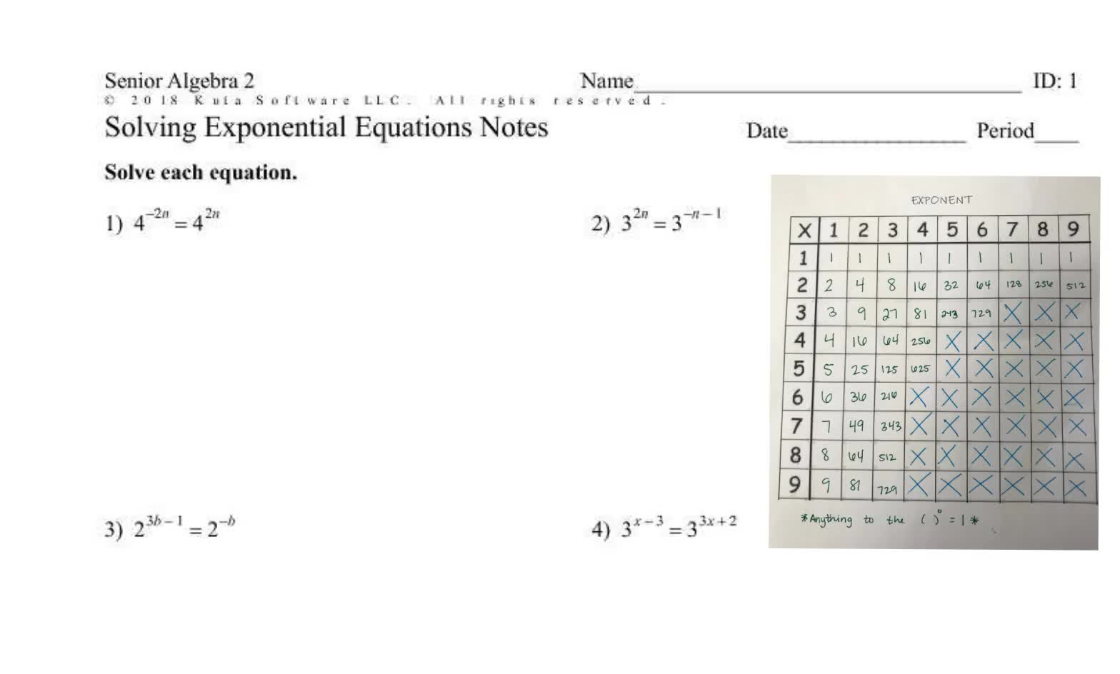 Senior Solving Exponential Equations