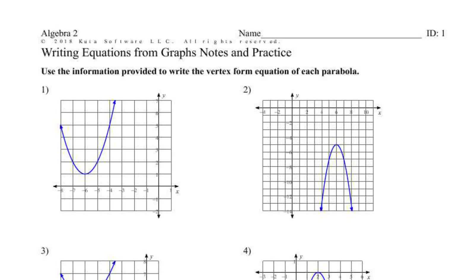 Writing Quadratic Equations from Graphs