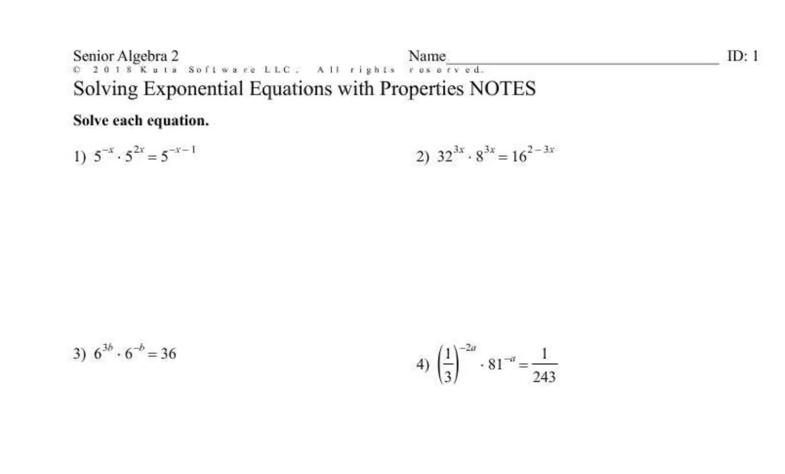 Solving Exponential Equations with Properties (SR)