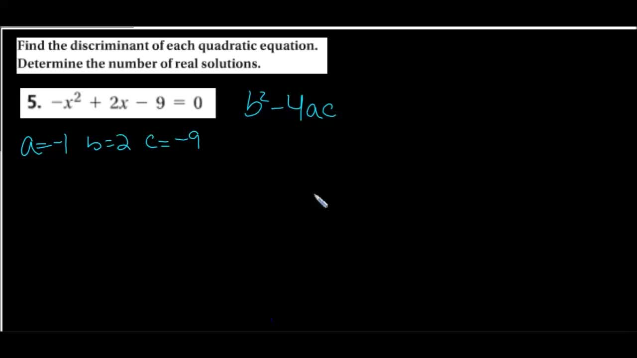Spanish support video: Using the Discriminant to determine quadratic real solutions