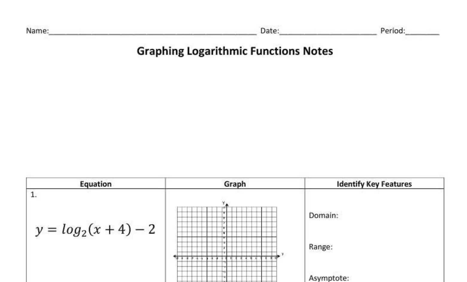 Graphing Log Functions (seniors)