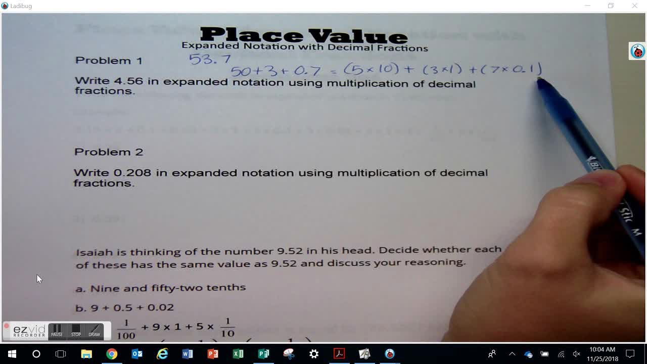 Expanded Notation with Decimal Fractions Day 46