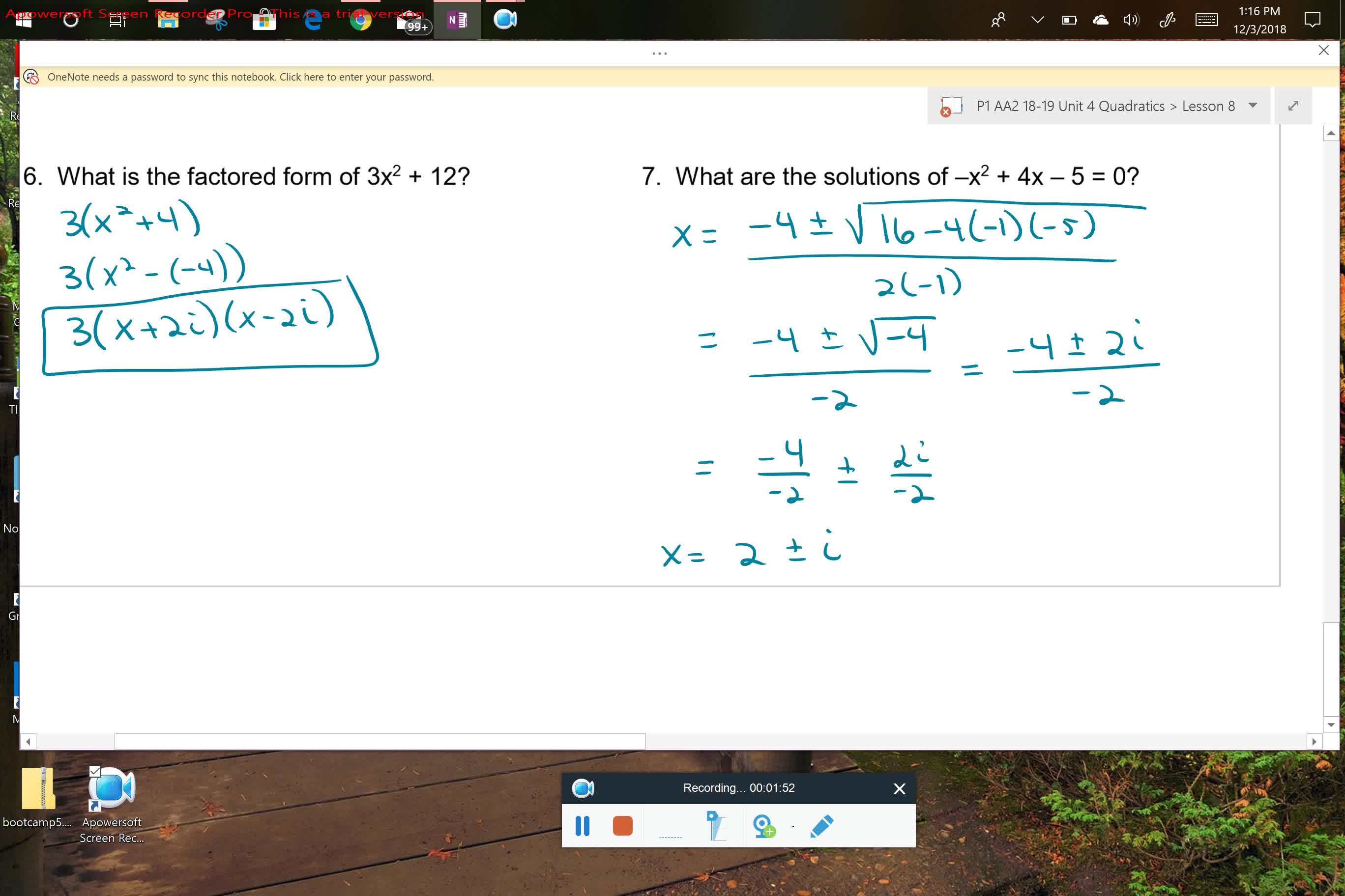 AA2 U4L8 Factoring and Equation Solving with Imaginary Numbers