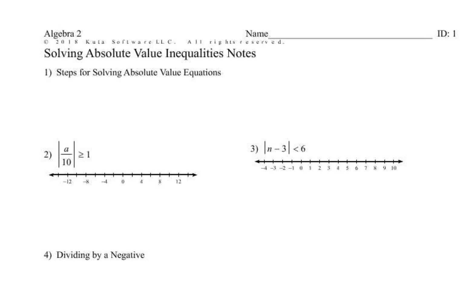 Solving Absolute Value Inequalities (Regular)