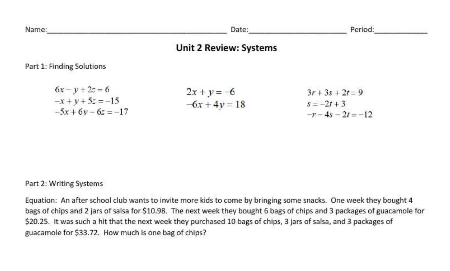 Final Review Unit 2