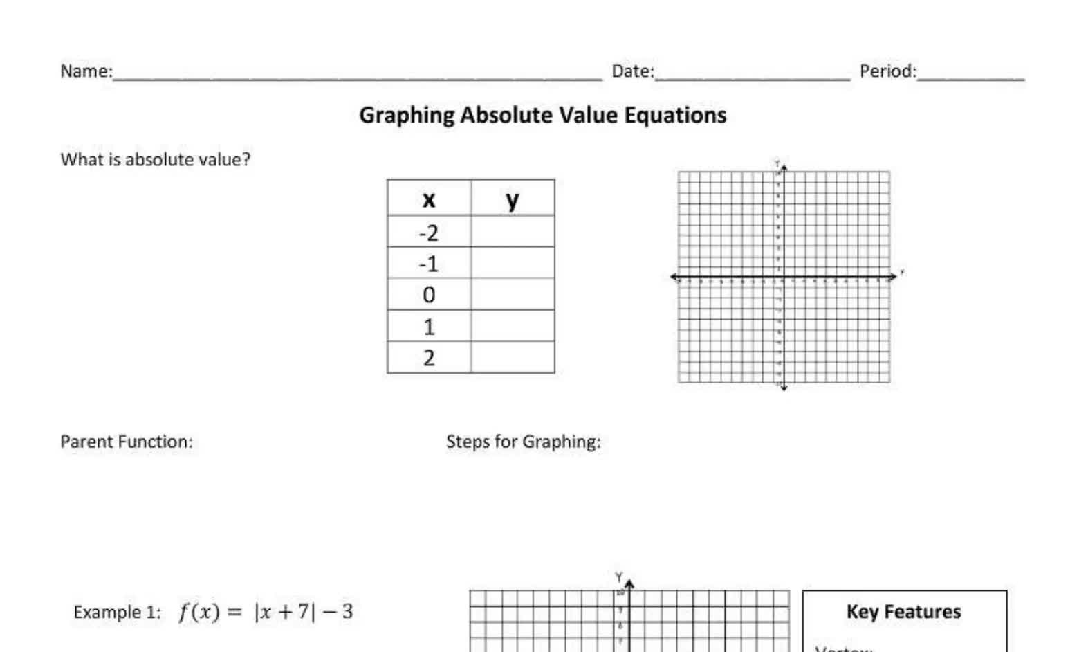 Graphing Absolute Value Functions (Regular)