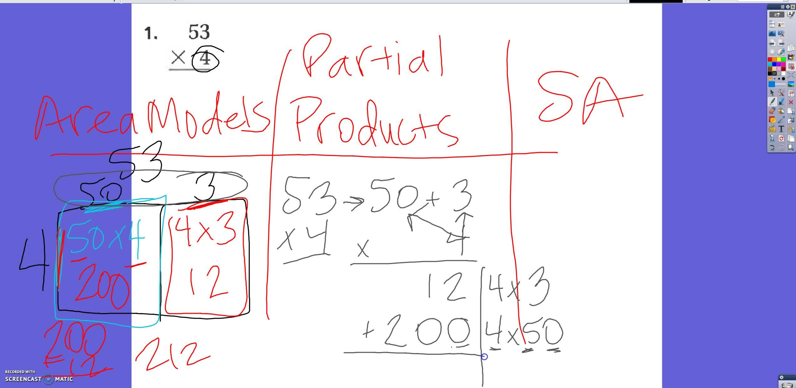2 digit by 1 digit multiplication strategies