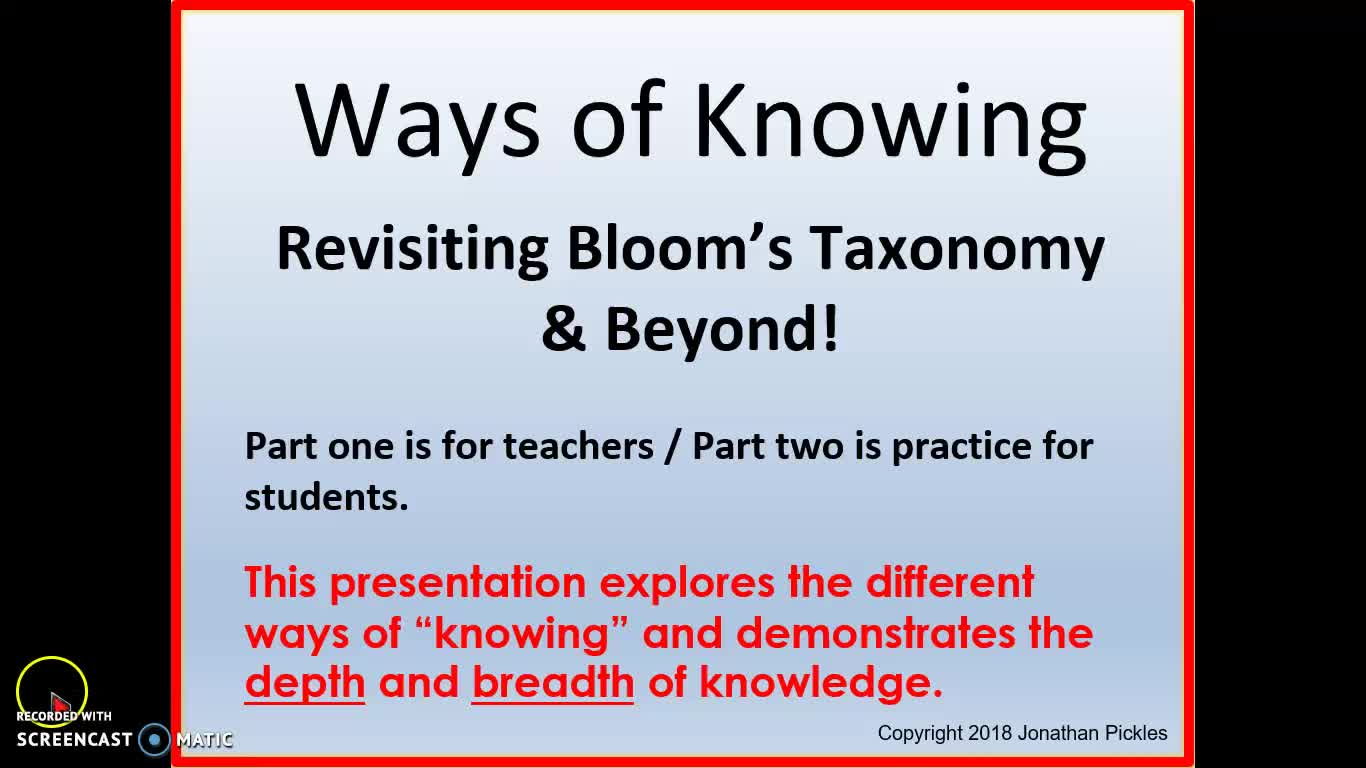 Ways of Knowing - Bloom's Taxonomy Revised - The Depth and Breadth of Knowledge
