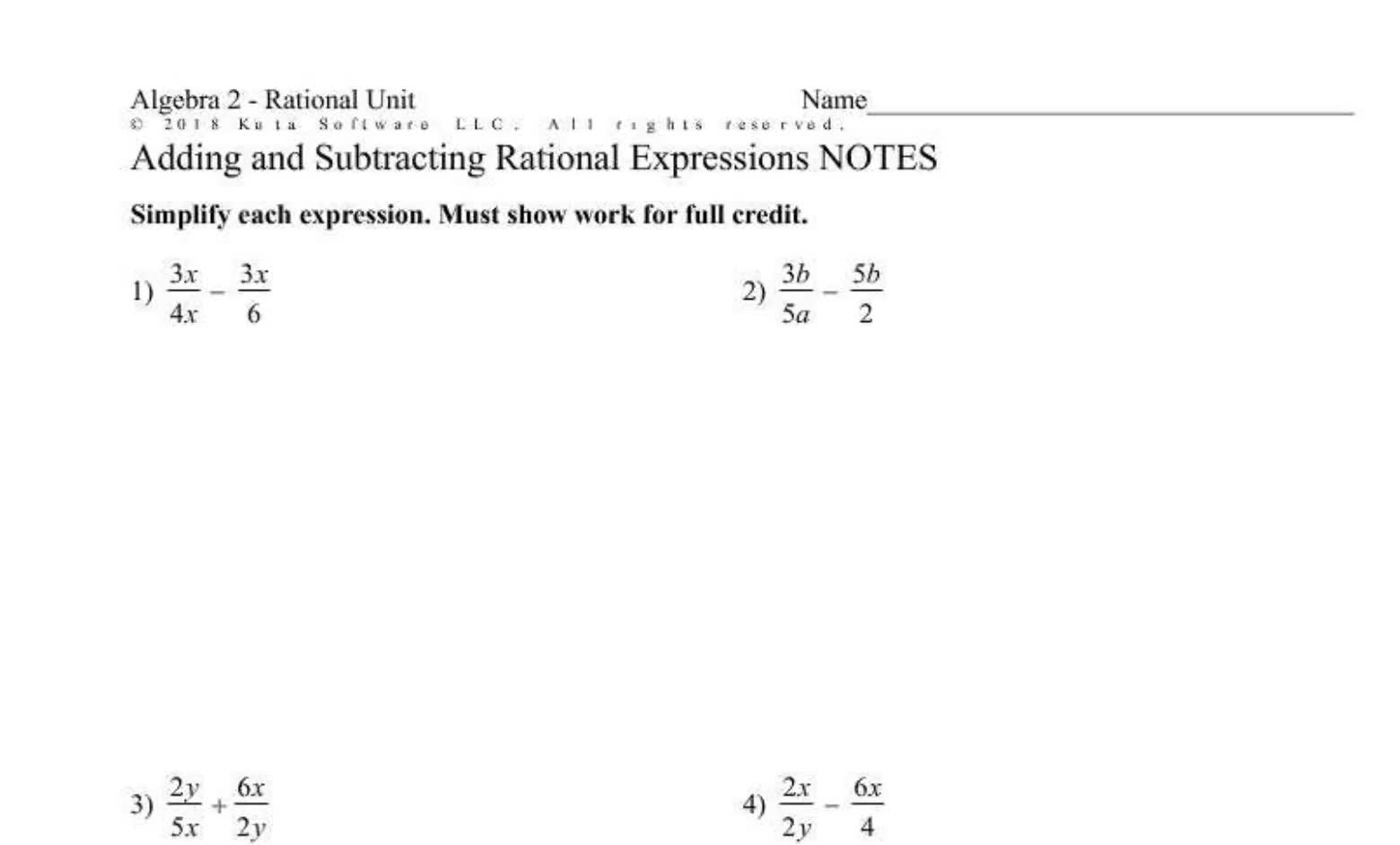 Add and Subtracting Rational Expressions (Seniors)