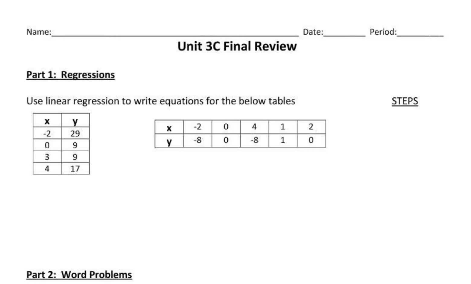 Unit 3C Review for Final