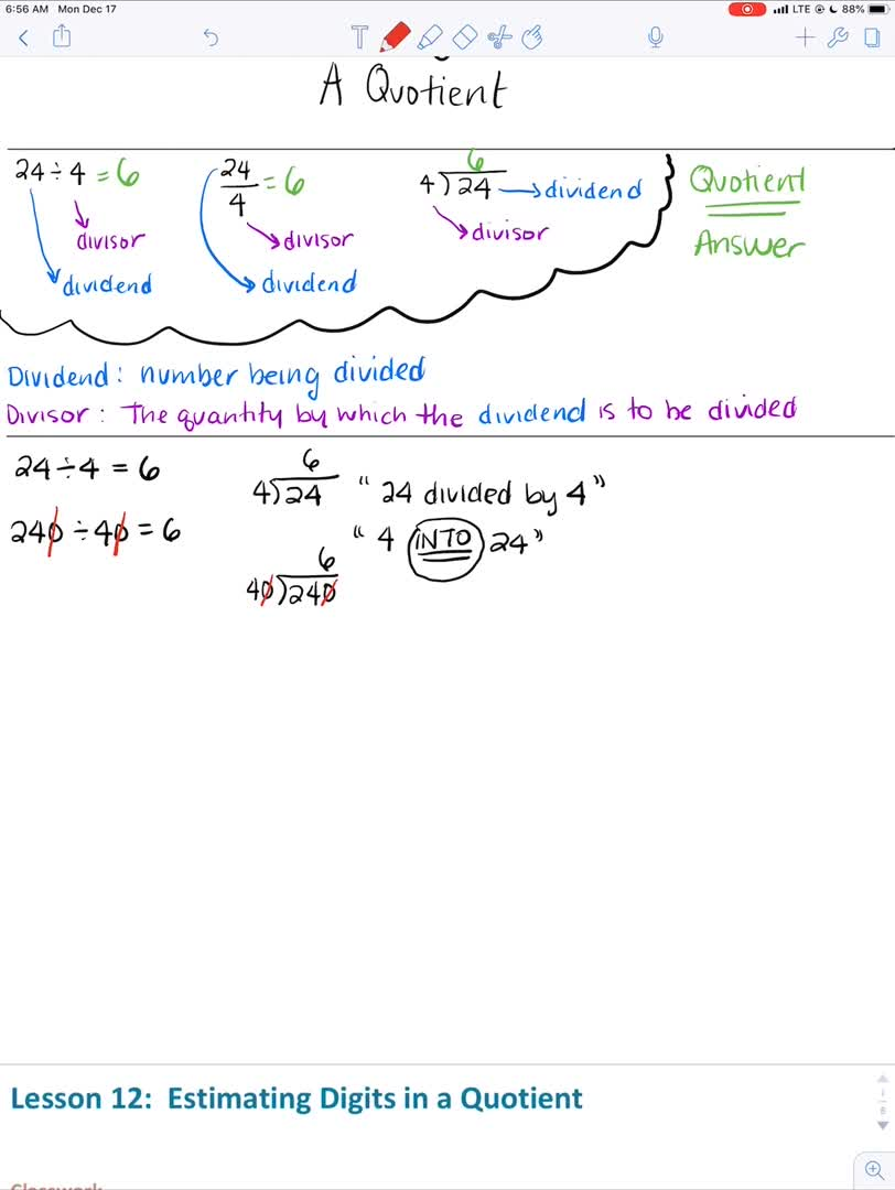 Estimating Digits in a Quotient