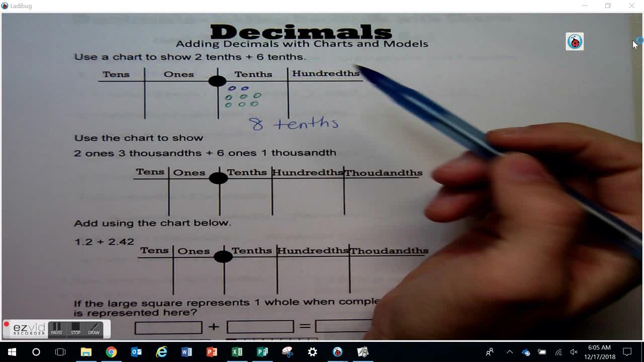 Adding Decimals with Charts and Models Day 59