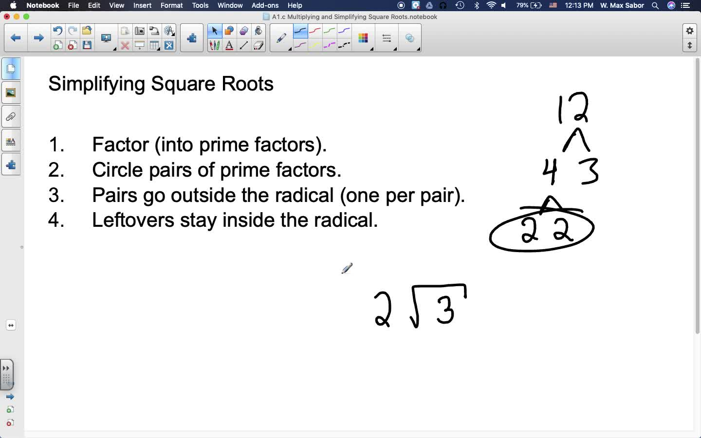 A1.c Multiplying and Simplifying Square Roots