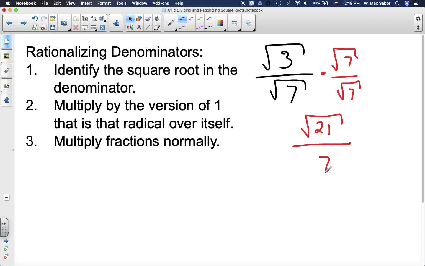 A1.d Dividing and Rationalizing Square Roots