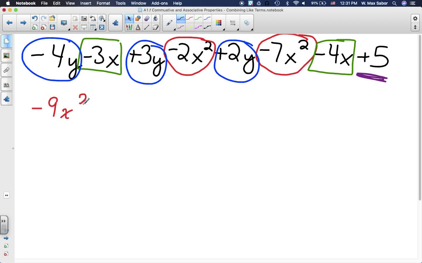 A1.f Commutative and Associative Properties - Combining Like Terms