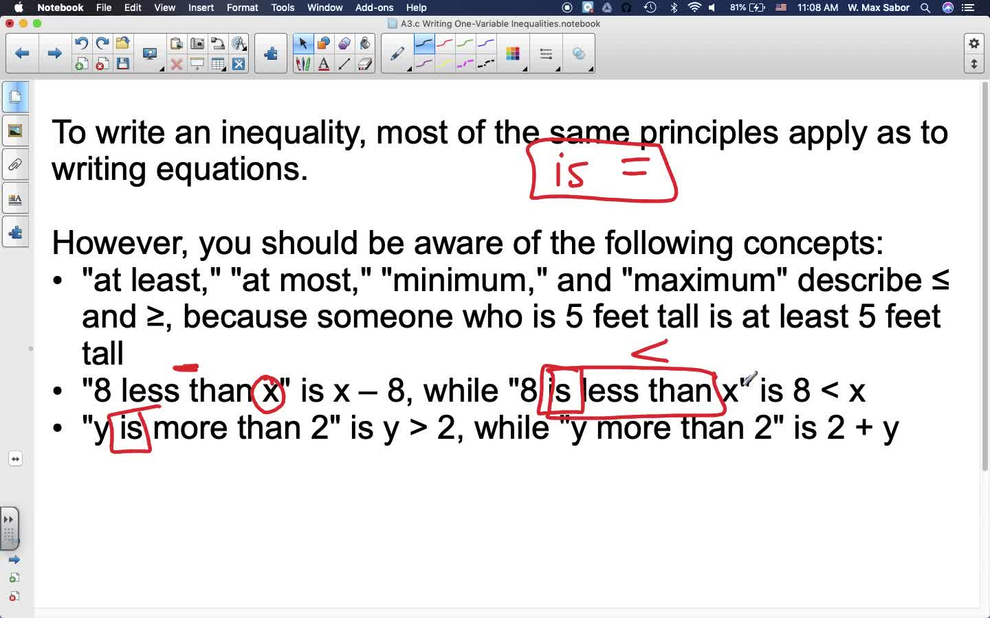 A3.c Writing One-Variable Inequalities