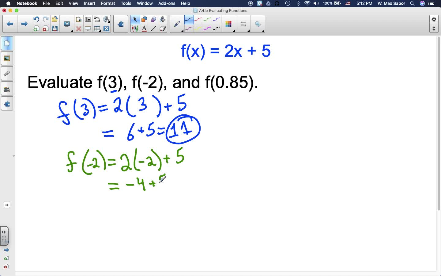 A4.b Evaluating Functions