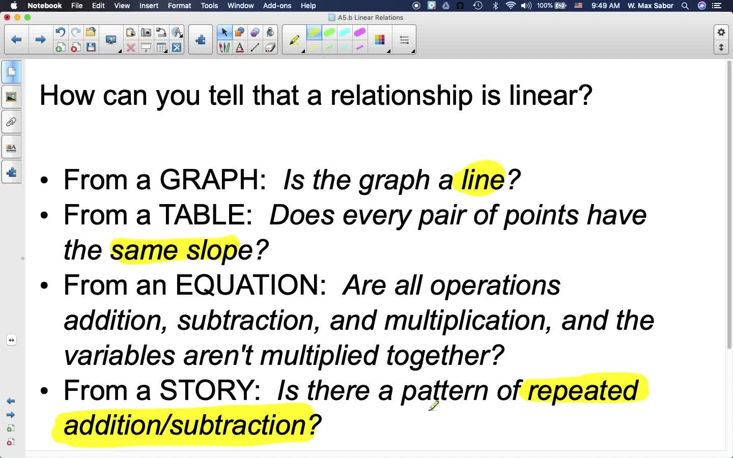 A5.b Linear Relations