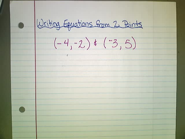 Writing Linear Equations - 2 Points